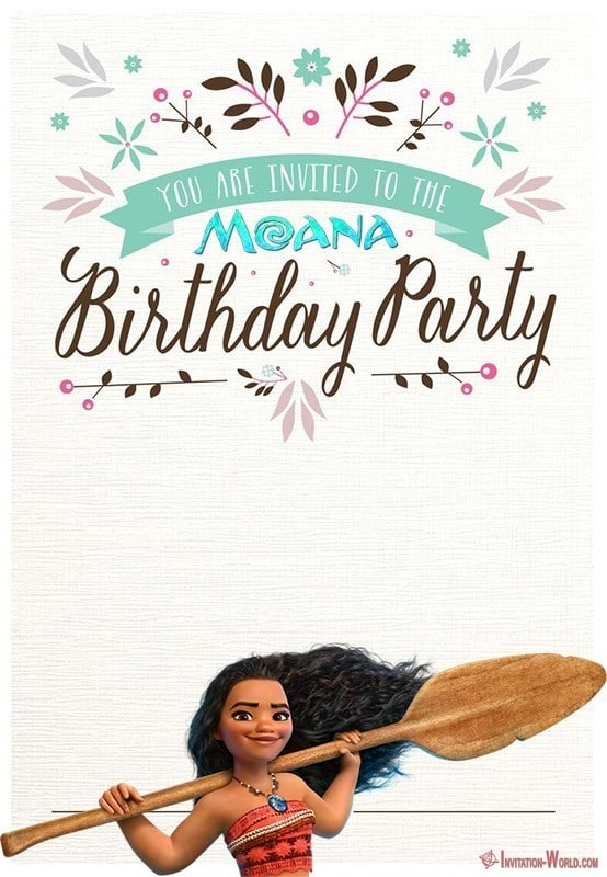 Printable Moana Birthday Invitation Template - 7+ Moana Invitation Templates - Free and Printable