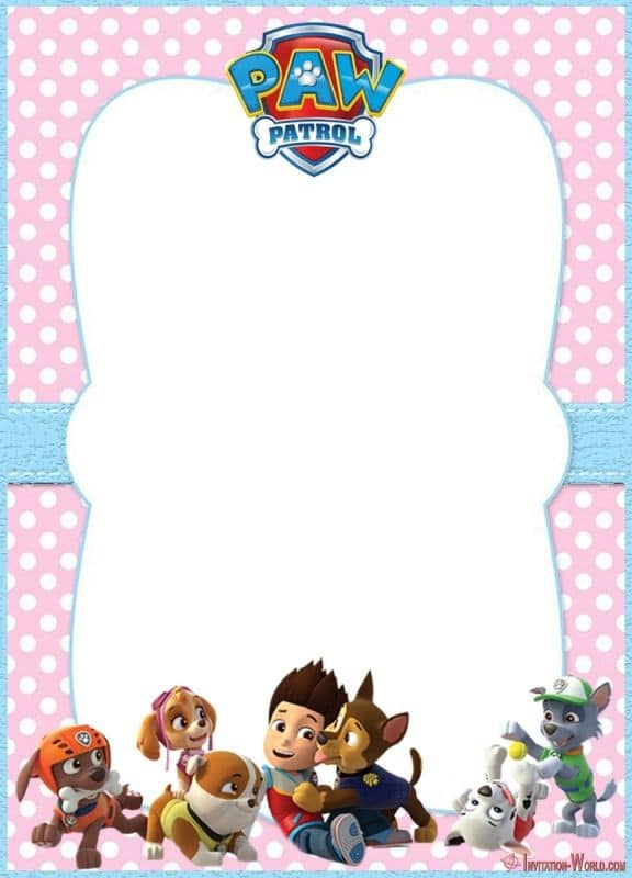 Editable Paw Patrol Invitation Card 150x150 - Skye invitation - Paw Patrol template for girls