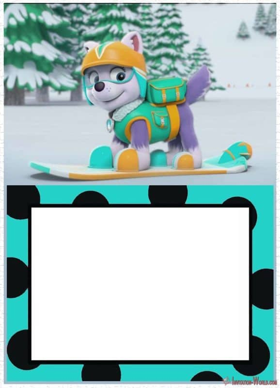 Printable Everest Invitation 150x150 - Skye invitation - Paw Patrol template for girls
