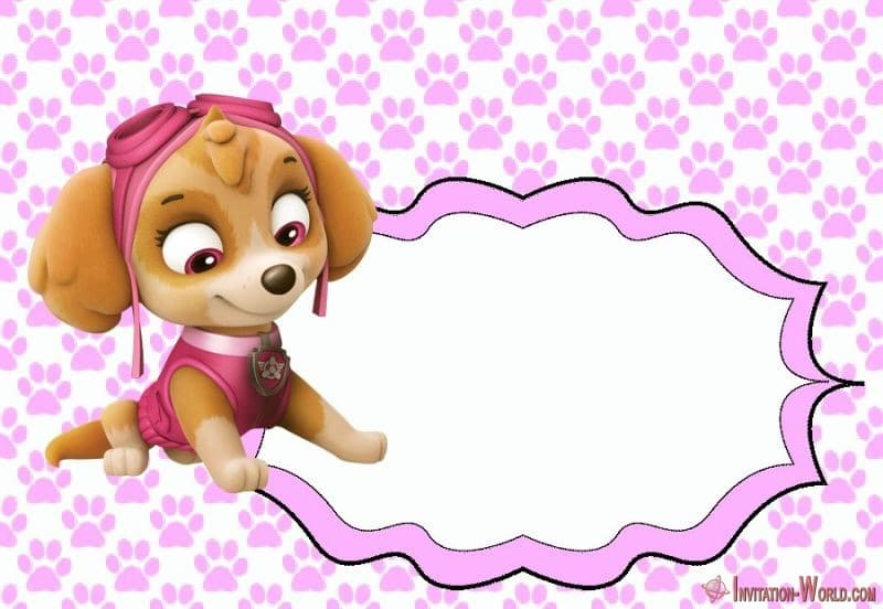 Skye invitation Paw Patrol template for girls - 5 Unique Paw Patrol Templates for Girls