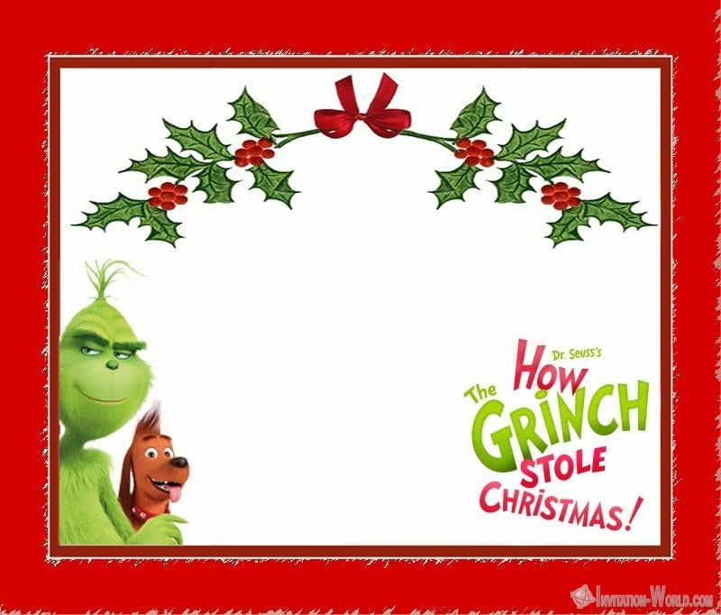 Dr. Seuss Grinch Christmas Invitation Card - Dr. Seuss Grinch Christmas Invitation Card