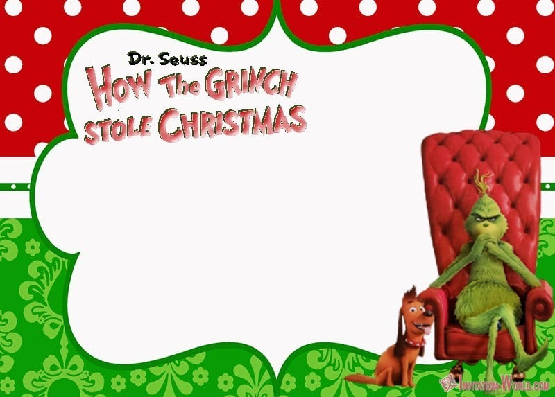 How the Grinch Stole Christmas Free Invitation - The Grinch 2018 Invitation Cards