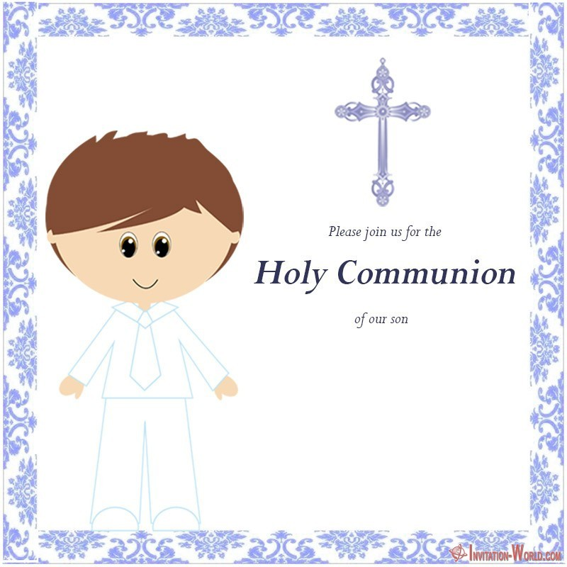First Communion Invitation Template for Boys - First Communion Invitation Cards