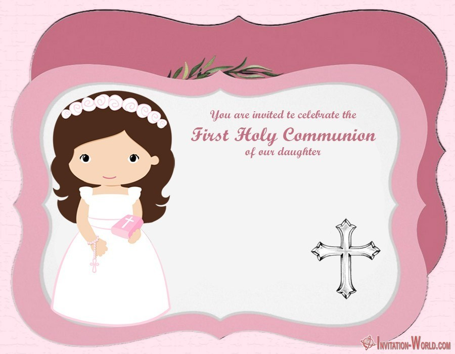 First Communion invitation template for girl - First Communion Invitation Cards