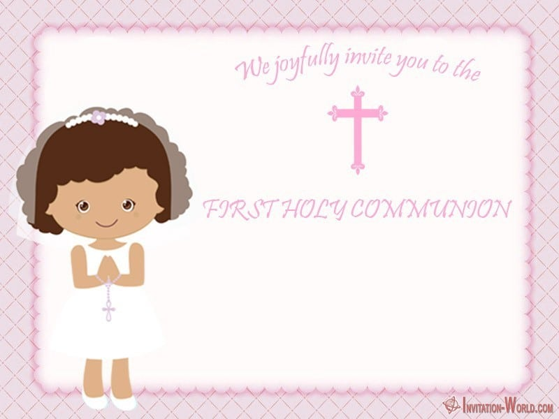 First Communion template for girl - First Communion Invitation Cards