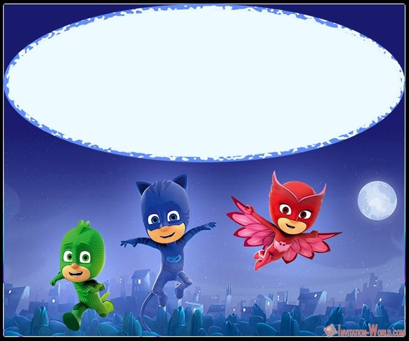 PJ Mask Blank Template - Free PJ MASKS Invitation Cards