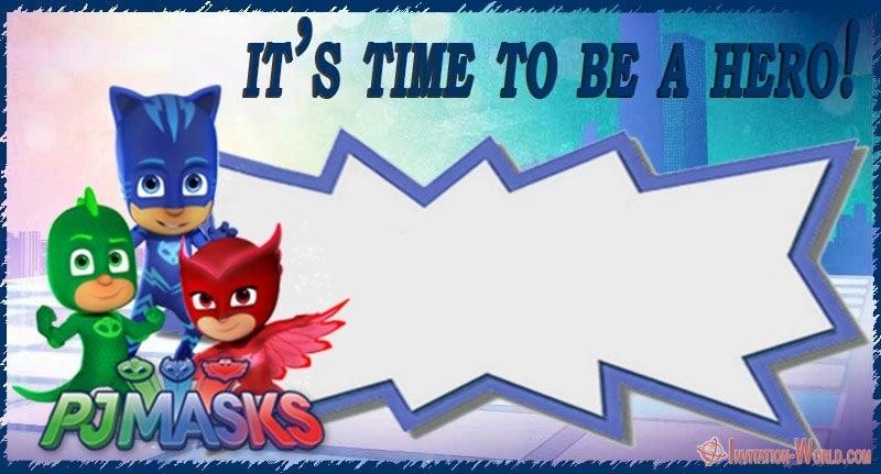 Personalized PJ Masks Invitation Blank - Free PJ MASKS Invitation Cards