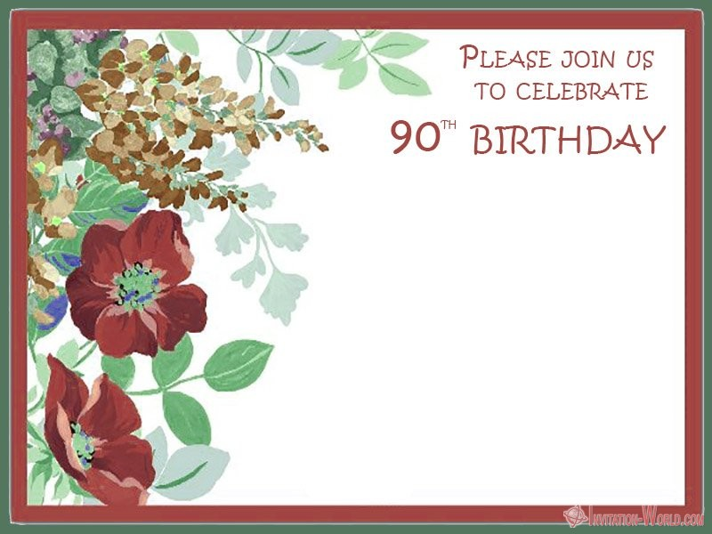 90th birthday invitation blank template - 90th Birthday Invitation Ideas