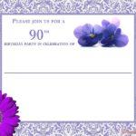 90th birthday invitation card