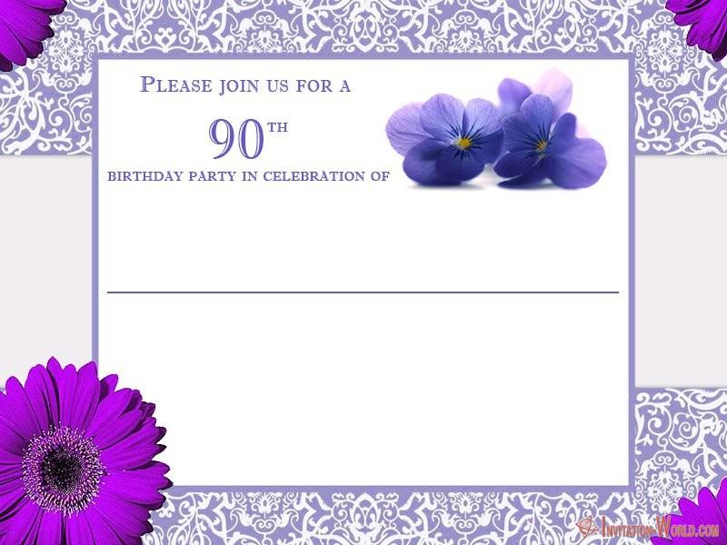 90th birthday invitation card - 90th Birthday Invitation Ideas