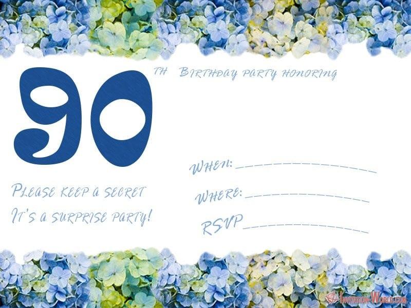 90th birthday party invitation template - 90th Birthday Invitation Ideas