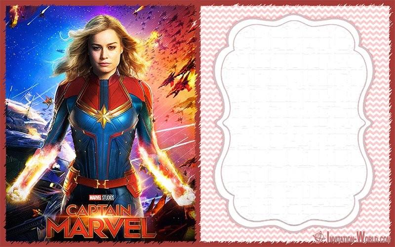 captain marvel invitation cards
