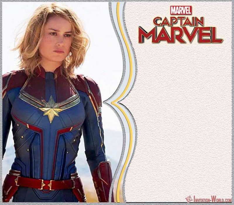Captain Marvel Birrthday Invitation - Captain Marvel Invitation Cards