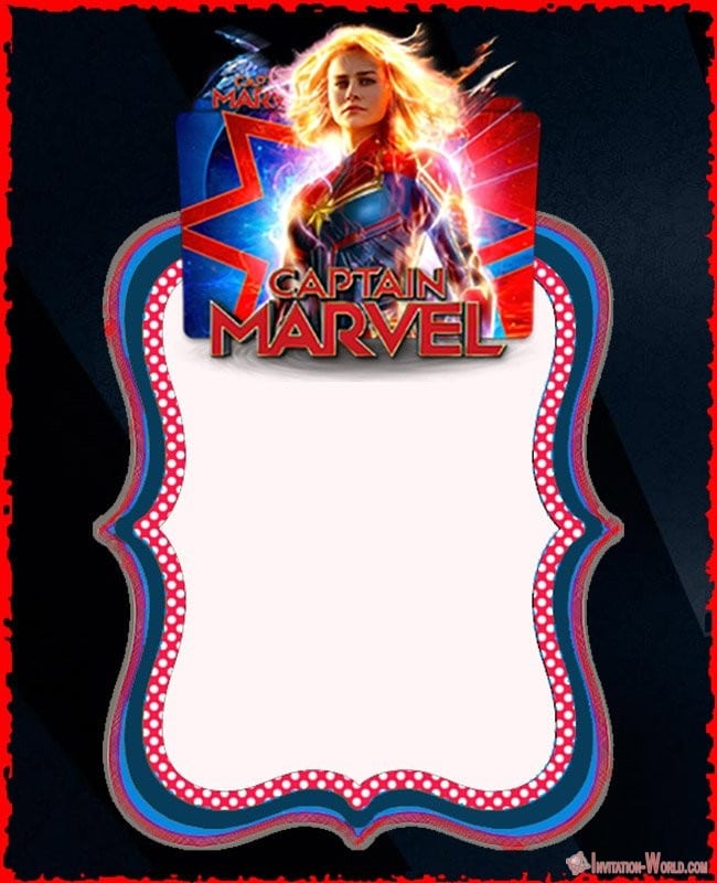 Captain Marvel Blank Template - Captain Marvel Invitation Cards
