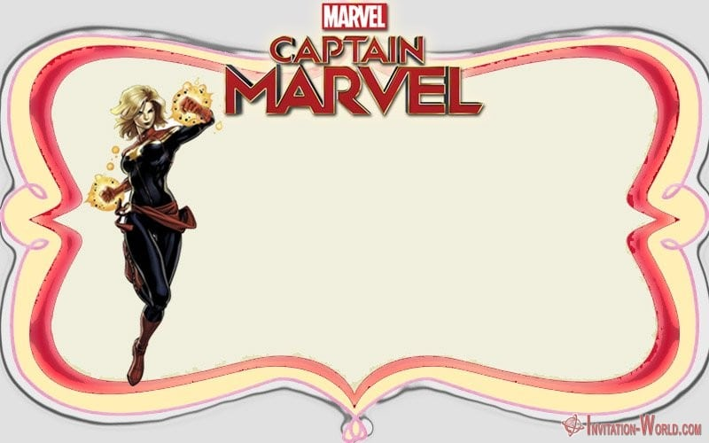 Captain Marvel Free Invitation Template - Captain Marvel Invitation Cards