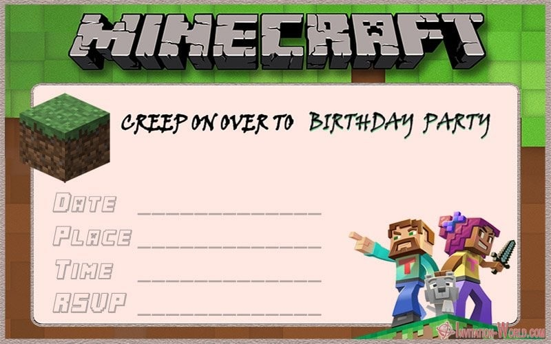 Free Minecraft Birthday Invitation Template - 12+ Printable Minecraft Invitation Templates