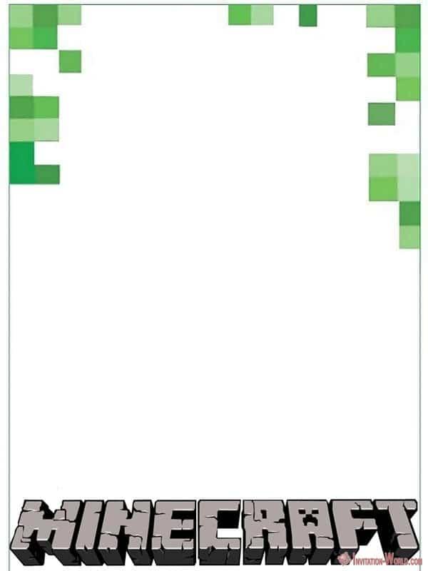 Free Printable Invitation Minecraft - 12+ Printable Minecraft Invitation Templates