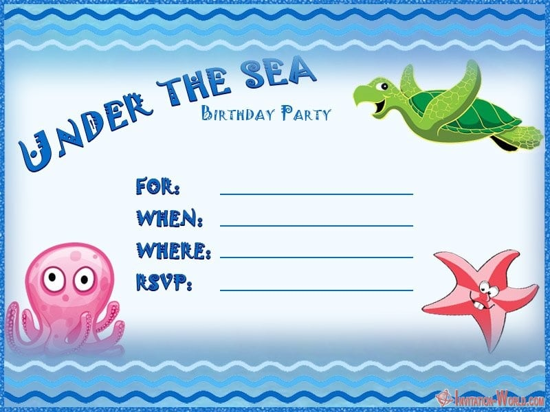 Free Under The Sea Template Design - Under the Sea Birthday Invitations