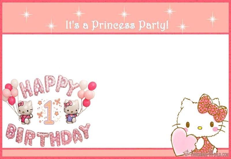 Hello Kitty First Birthday Invitation Template - Hello Kitty Invitations - Free Printable Templates