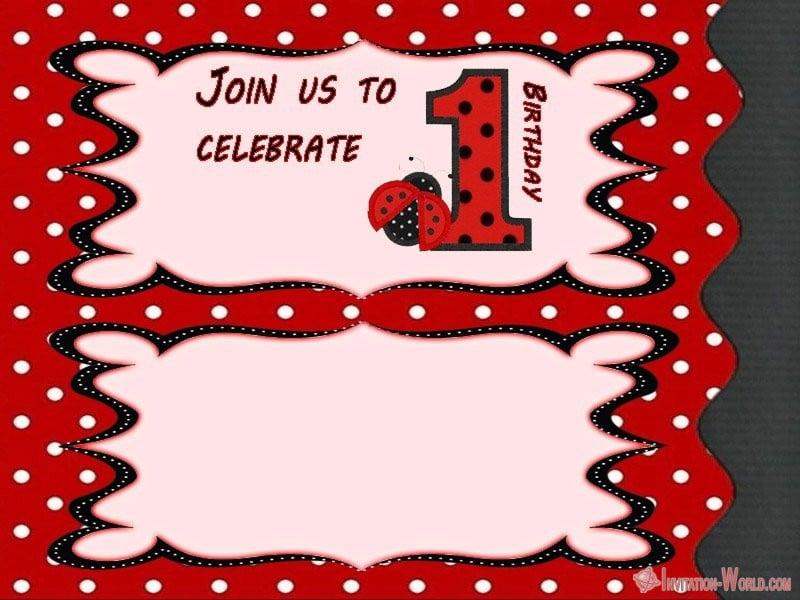 Ladybug First Birthday Invitation Template - Ladybug Invitation Templates - Free Download