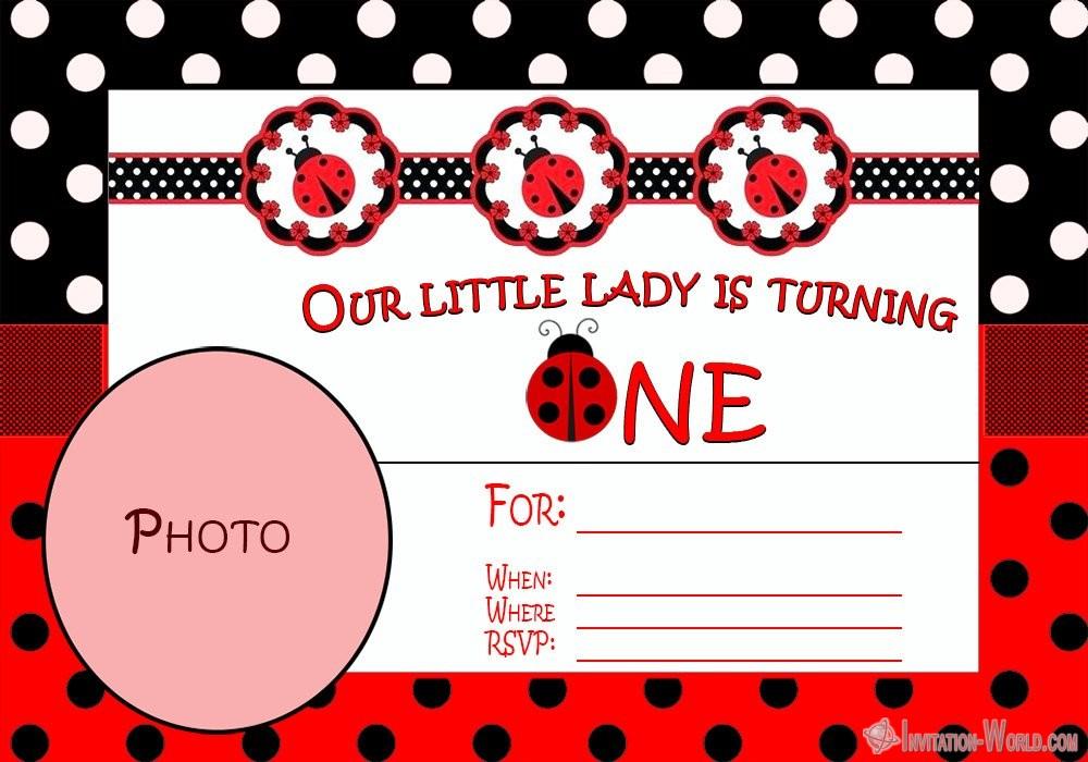 Ladybug First Birthday Invitation - Ladybug Invitation Templates - Free Download