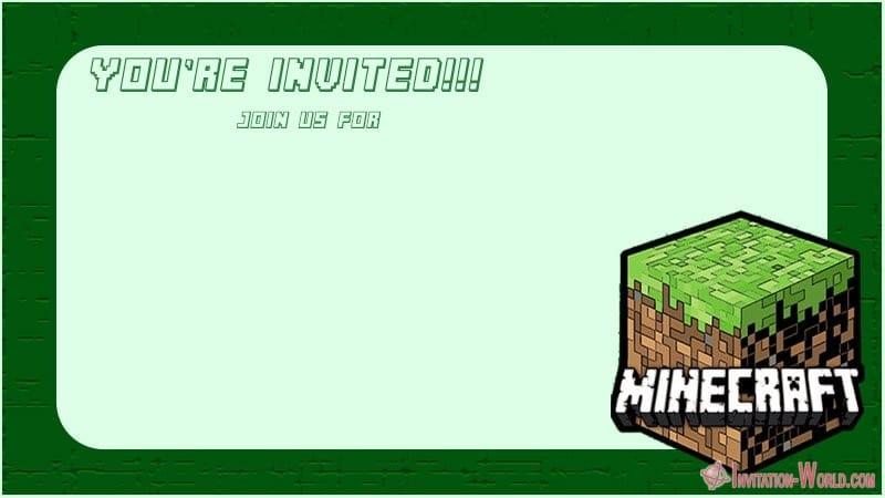 Minecraft Party Invitation Card - 12+ Printable Minecraft Invitation Templates