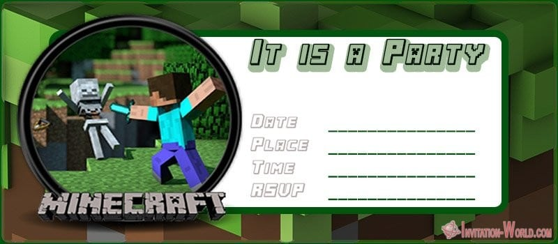 Minecraft Party Invitation Template - 12+ Printable Minecraft Invitation Templates