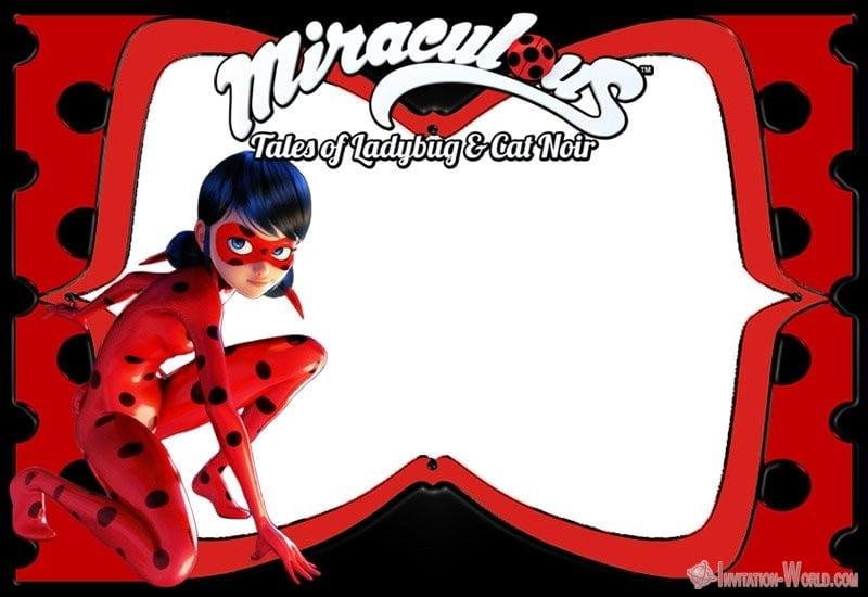 Miraculous Ladybug Invitation Tales of Ladybug Cat Noir - Ladybug Invitation Templates - Free Download