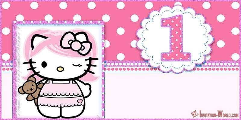 Printable Hello Kitty First Birthday Invitation Template - Hello Kitty Invitations - Free Printable Templates