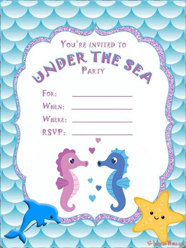 Under the sea birthday invitation card - Under the Sea Birthday Invitations