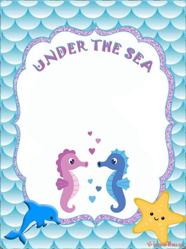 Under the sea blank invitation - Under the Sea Birthday Invitations