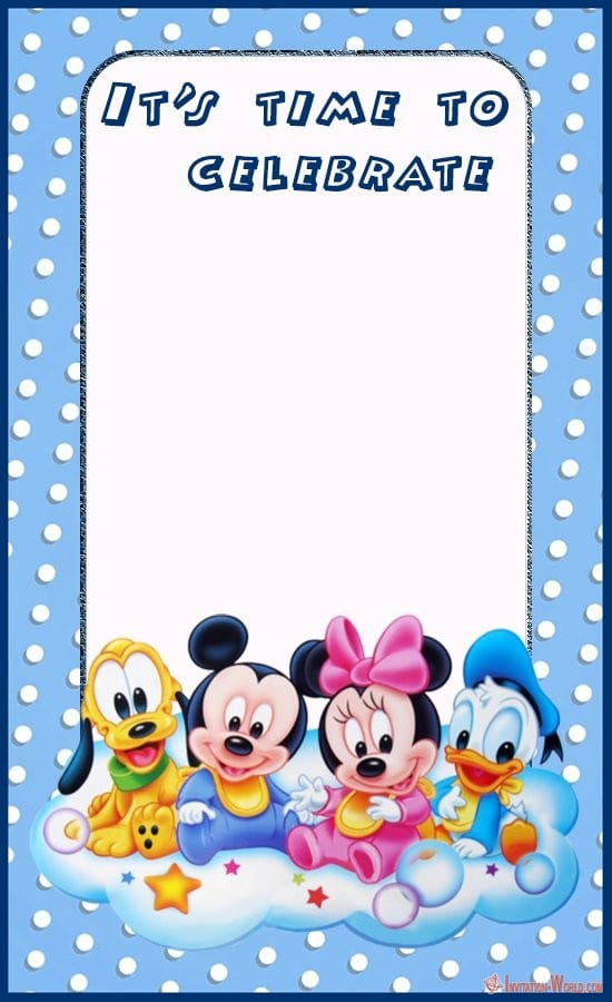Baby Mickey Mouse Party Invitation Card - Mickey Mouse Birthday Invitation Templates