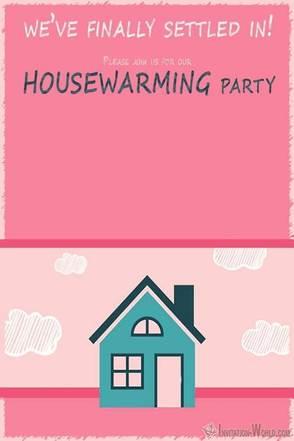 Cute Pink Housewarming invitation template - Cute Pink Housewarming invitation template