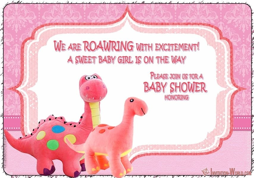 Dinosaur Baby Shower Invitation for Girl - Dinosaur Baby Shower Invitation for Girl