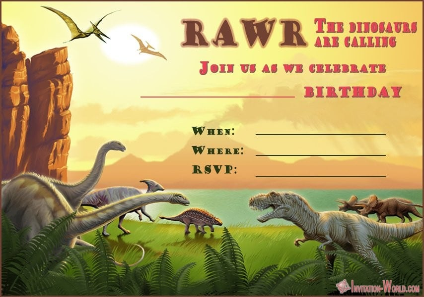 Dinosaur Birthday Invitation - Dinosaur Birthday Invitation