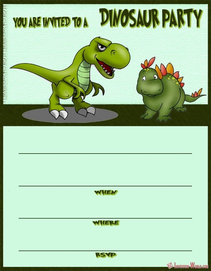 Dinosaur Birthday Party Invitation Card - Dinosaur Birthday Party Invitation Card