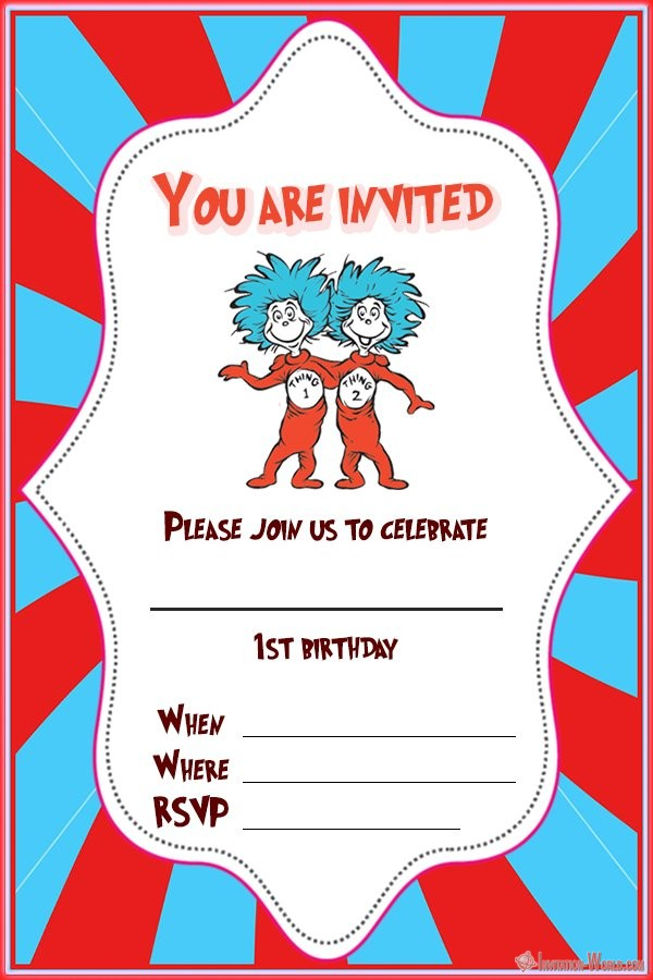 Dr. Seuss 1st birthday invitation - Dr. Seuss Invitations for Perfect Party