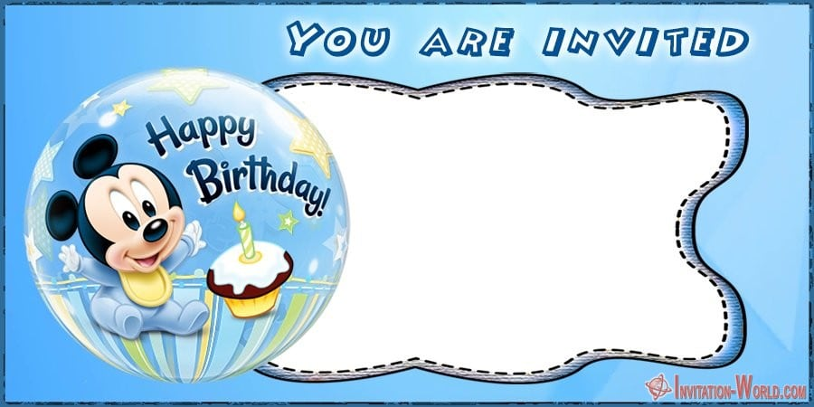 Mickey Mouse First Birthday Invitation - Mickey Mouse Birthday Invitation Templates