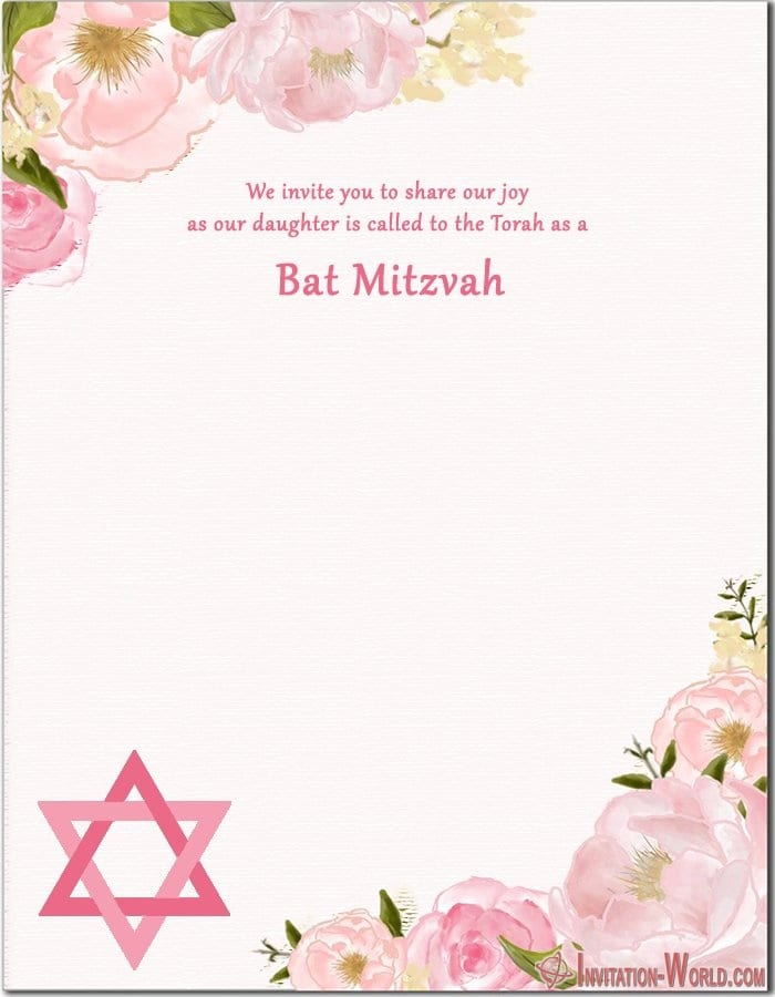 Bat Mitzvah Invitation Free - Bat Mitzvah Invitation Free
