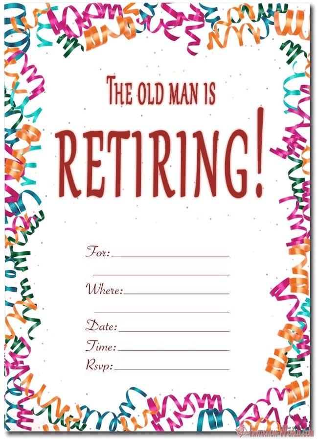 It is a photo of Printable Retirement Invitation throughout floral border invitation