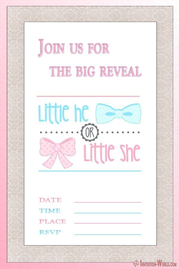 Gender Reveal Invitation Printable - Gender Reveal Invitation Templates