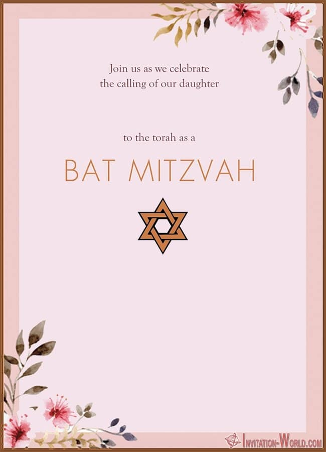 Modern Bat Mitzvah Invitation - 8+ Bat Mitzvah Free Invitation Templates