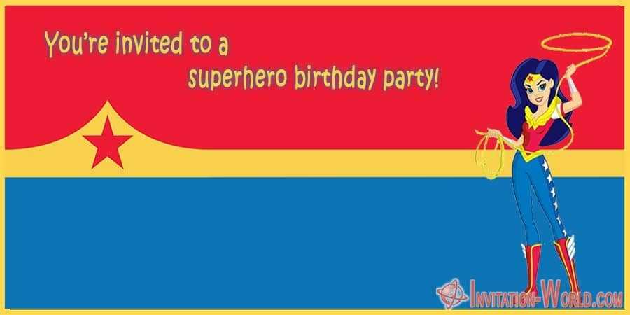 Wonder Woman Superhero Invitation Card - Wonder Woman Free Invitation Templates