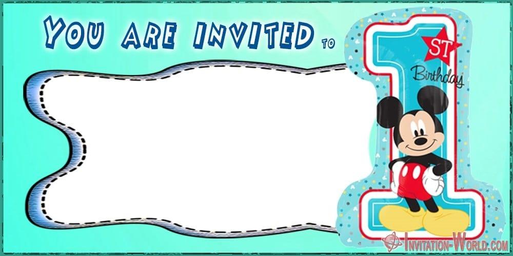 First Birthday Invitation Template Mickey Mouse - First Birthday Invitations for Boys and Girls