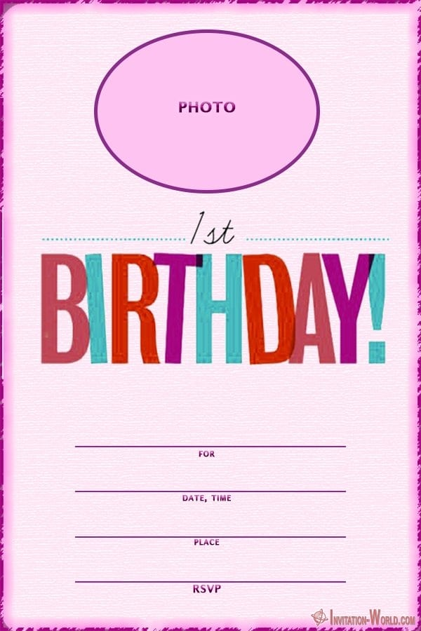 Free Printable First Birthday Initation Template - First Birthday Invitations for Boys and Girls