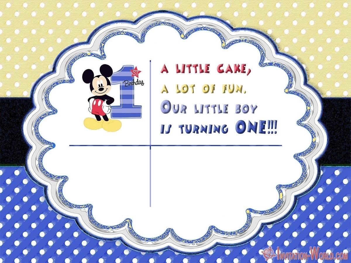 Mickey Mouse 1st Birthday Party Invitation - Mickey Mouse 1st Birthday Party Invitation