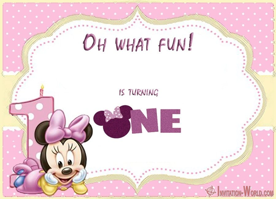 Minnie Mouse First Birthday Invitation For Girls - First Birthday Invitations for Boys and Girls
