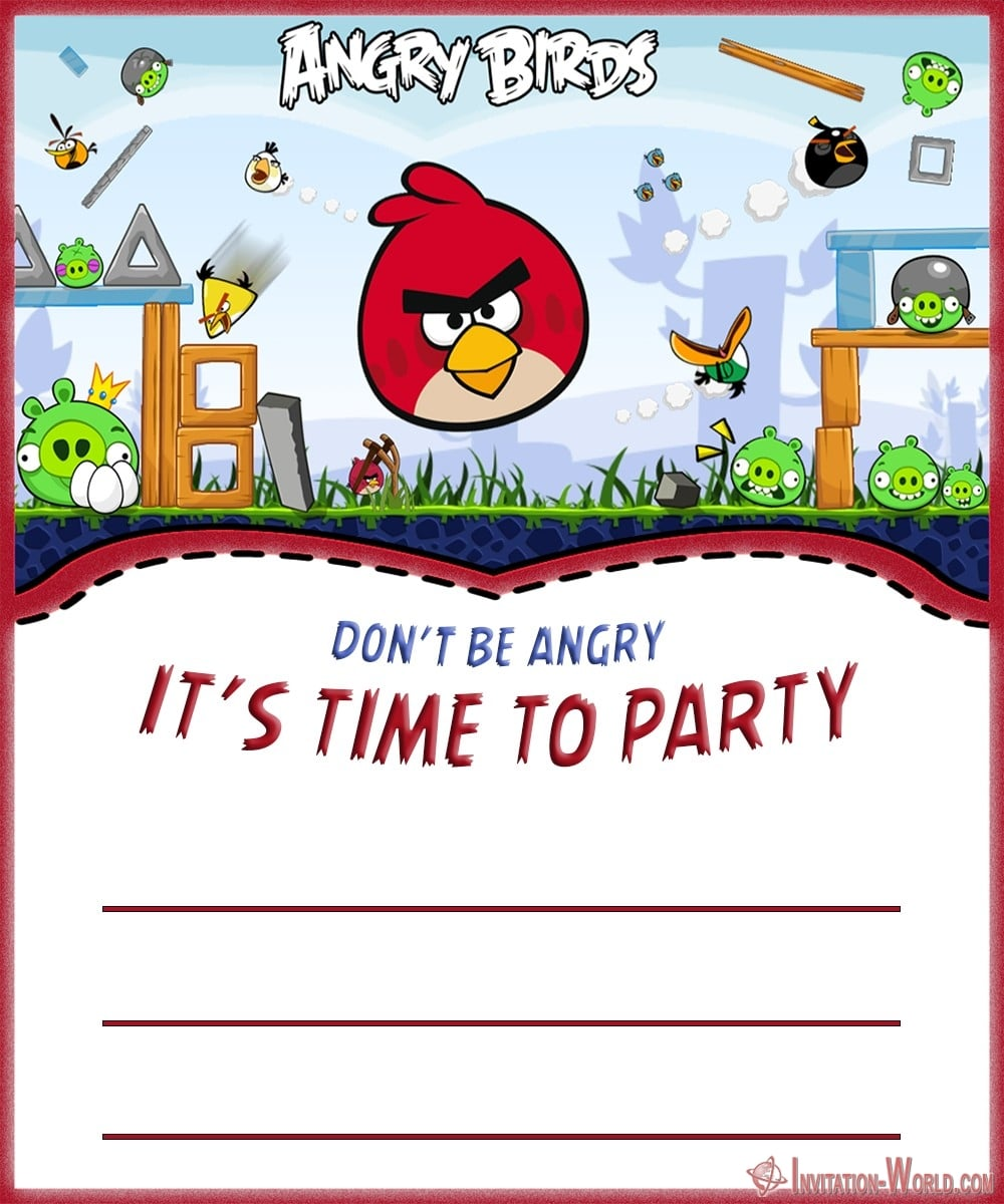 Angry Birds Invitation Card Template 1000x1200 - 8+ Free Angry Birds Invitation Templates