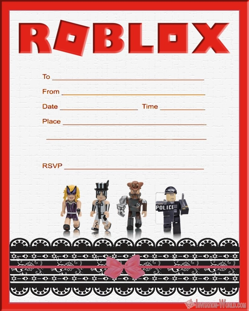 Custom Roblox Invitation Template - Roblox Birthday Party Invitations