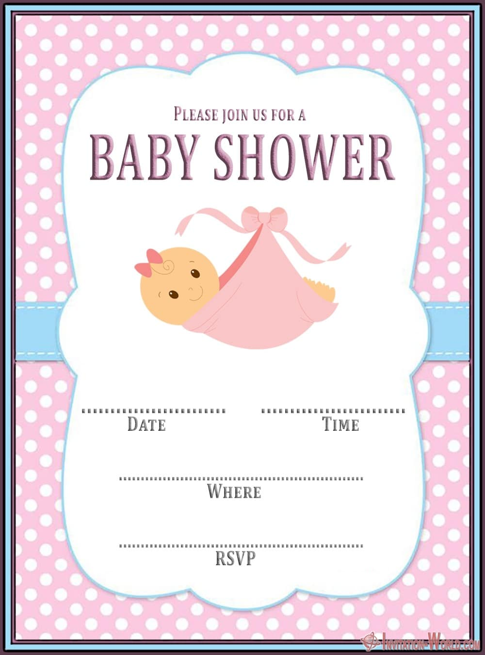 Free Baby Shower Invitation Template Pink 150x150 - Editable Baby Shower Invitation Card